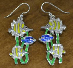 Tropical fish and seaweed enamel dangle earrings