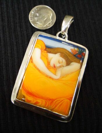 hand painted 'Flaming June' onyx and sterling silver pendant with dime for scale