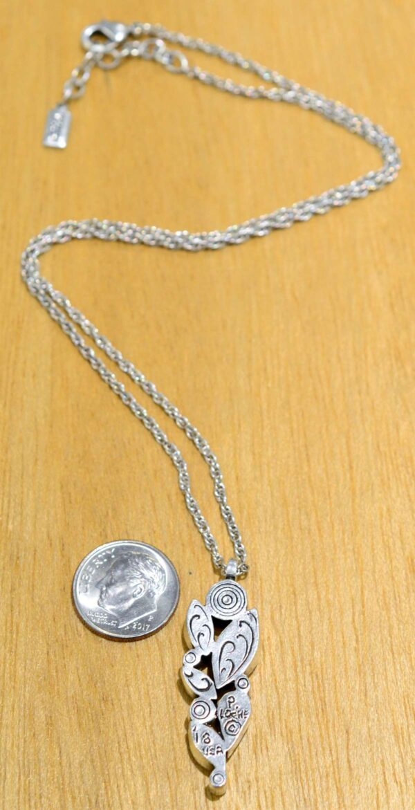Patricia Locke Fleur silvertone necklace in All Crystal, back view, shown with dime (not included) for scale