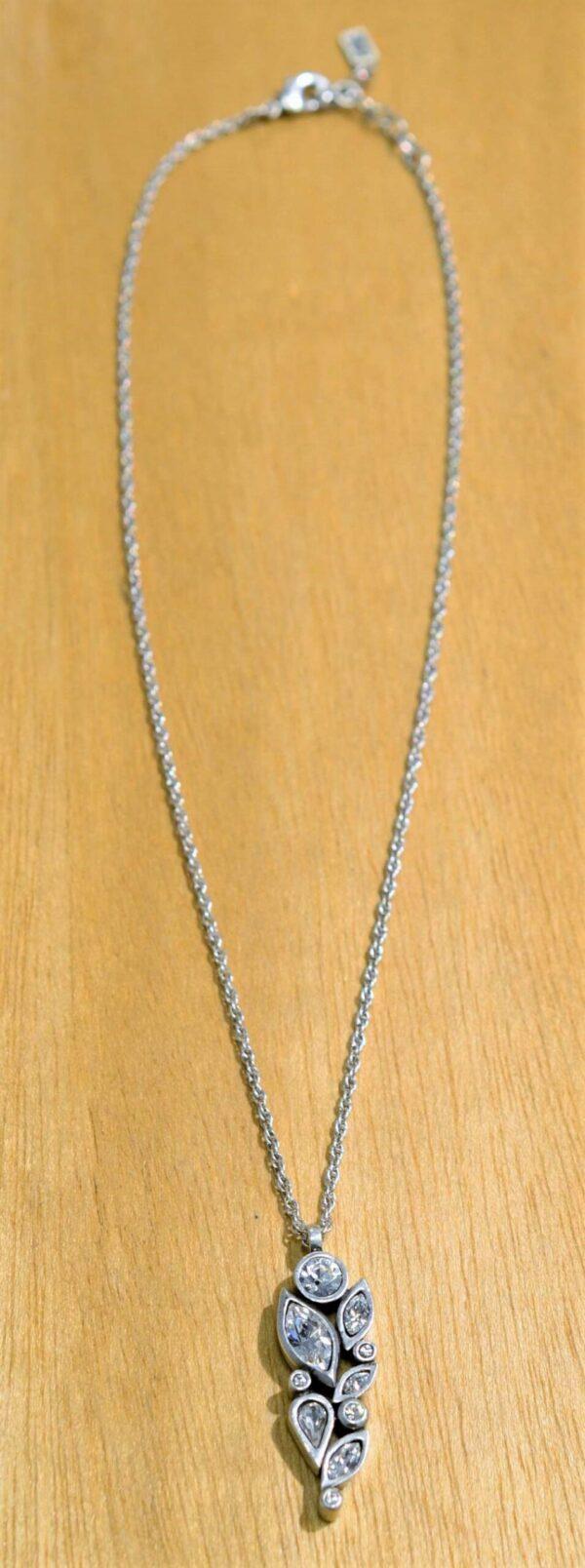 Patricia Locke Fleur silvertone necklace in All Crystal