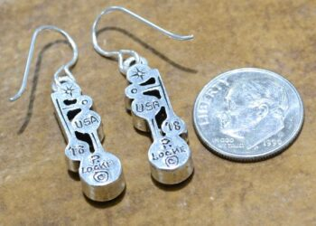 back of Dew Drop earrings by Patricia Locke with dime for size