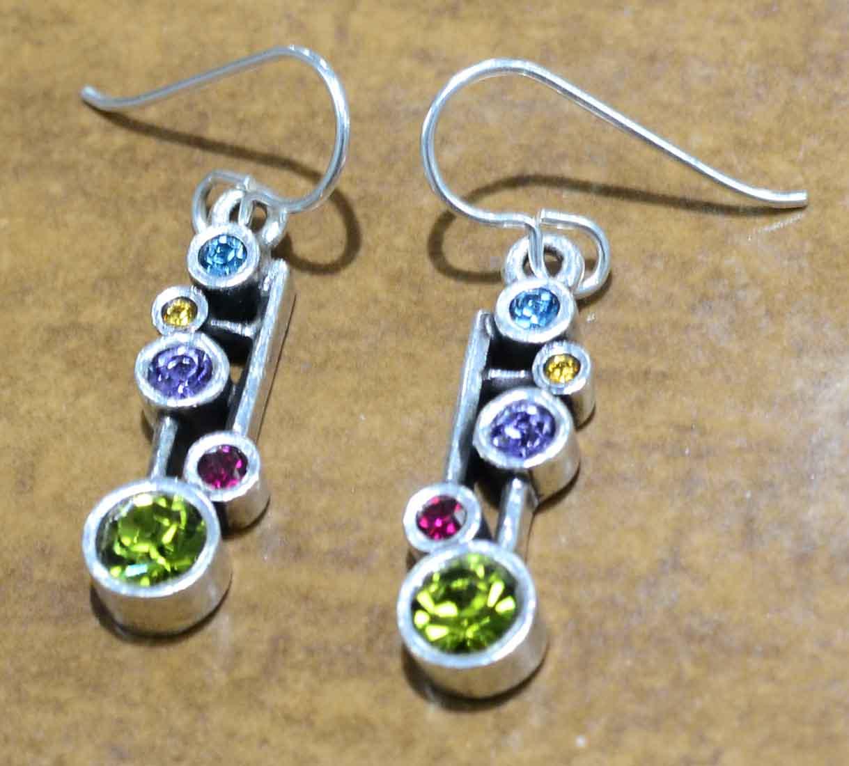 """Dew Drop silver tone earrings in color palette """"Fling"""" by Patricia Locke"""