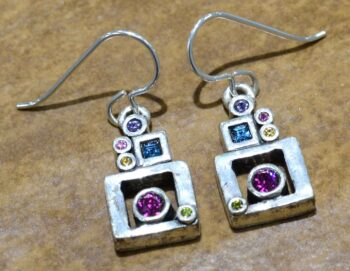 "Picture Window silver tone earrings in color palette ""Fling"" by Patricia Locke"