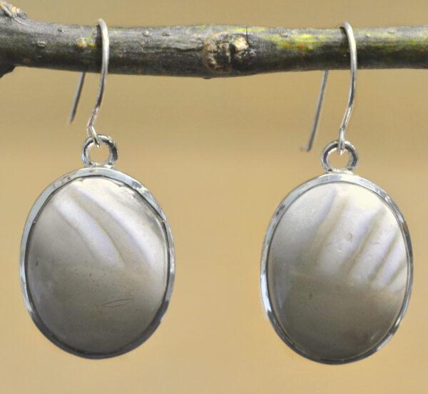 brown flint and sterling silver oval drop earrings