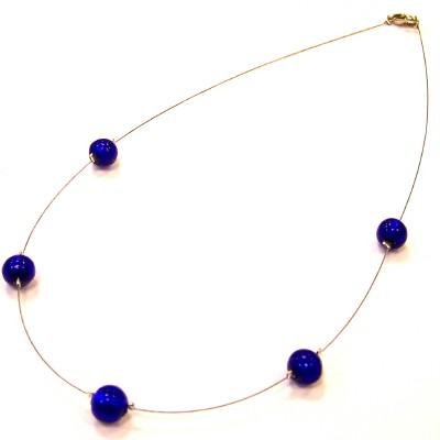 Murano glass petite circle dark blue necklace