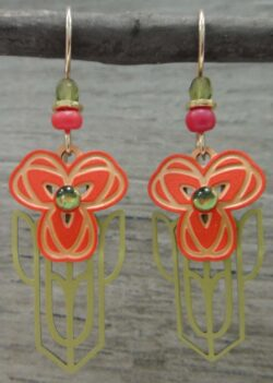 Adajio dangle earrings orange and green poppies