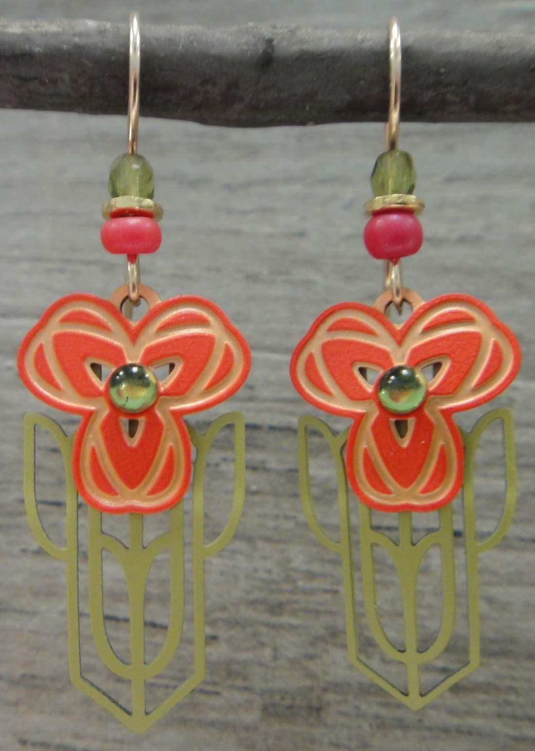 Adajio dangle earrings orange and green poppies