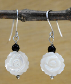 carved flower mother of pearl and black onyx beaded earrings