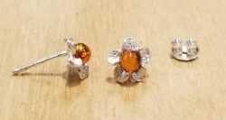 Baltic amber and sterling silver handmade flower post earrings