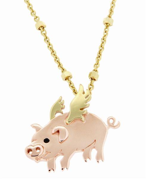 Gold vermeil flying pig necklace