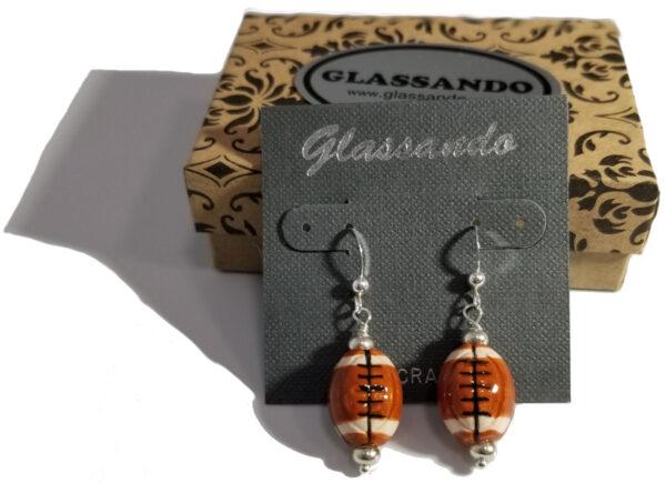 handmade ceramic football and sterling silver earrings