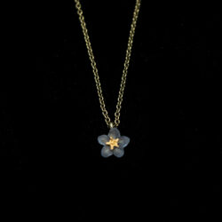 forget-me-not single blue flower necklace