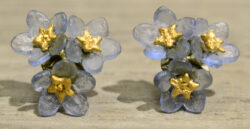 Michael Michaud Silver Seasons Forget-me-not 3 flower stud earrings