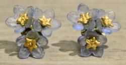 Michael Michaud Silver Seasons Forget-me-not 3 flower stud earrings
