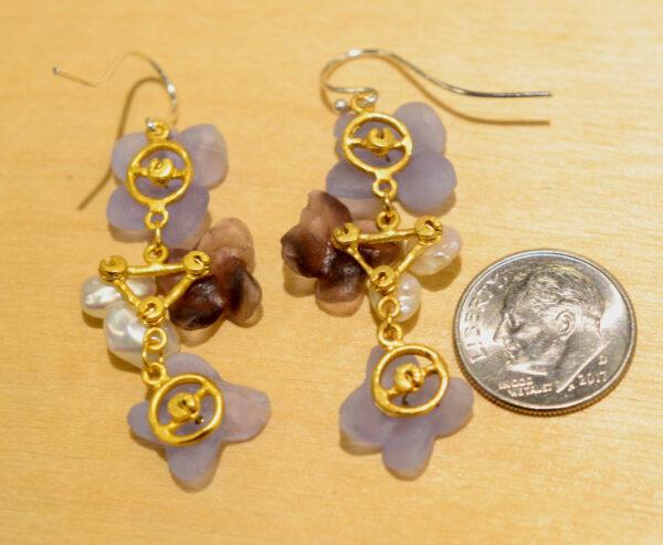 back of Michael Michaud French Bouquet dangle earrings