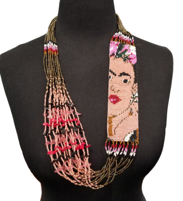 Frieda Kahlo inspired long necklace