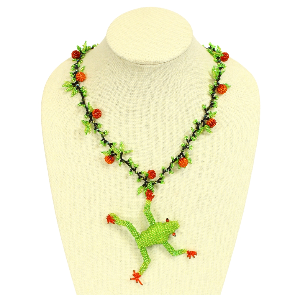 woven seed bead frog necklace