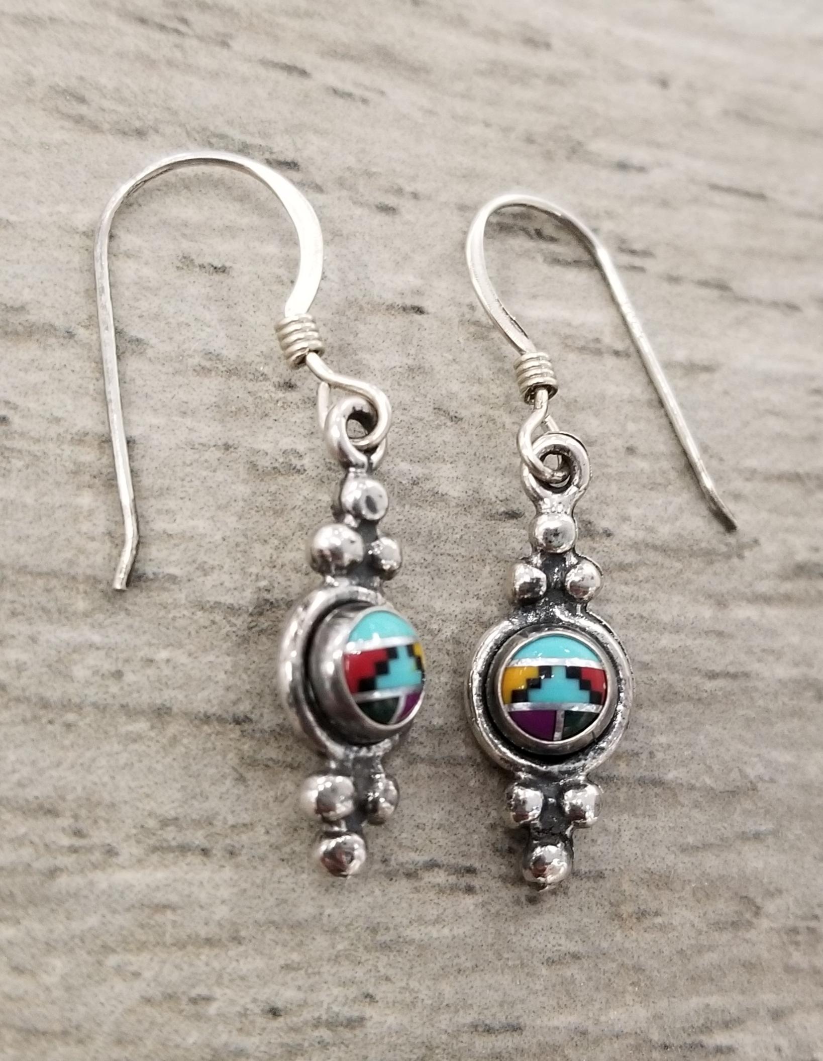 southwestern style stone inlay petite earrings