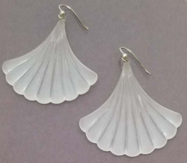 frosted vintage lucite and sterling silver earrings