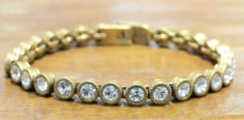"Game, Set, Match gold tone bracelet in color ""All Crystal"" by Patricia Locke"