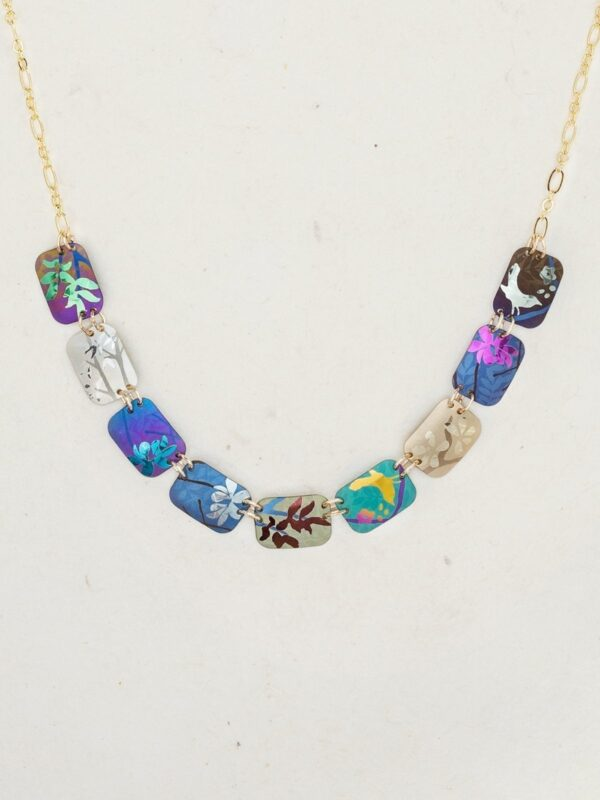 close up of colorful Garden Delight necklace by jewelry designer Holly Yashi