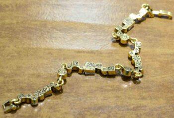 back of Garden Path two tone bracelet by Patricia Locke