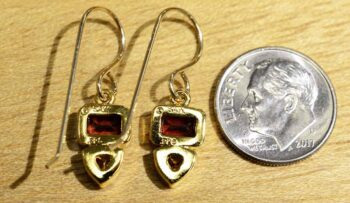 Back of garnet and citrine gold vermeil earrings (pictured with dime for scale)