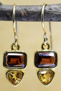These garnet and citrine gold vermeil earrings are handmade by Sonoma Art Works.