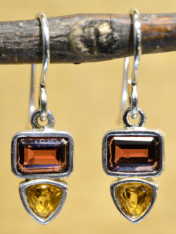 Sierra Designs garnet, citrine, and sterling silver gemstone earrings