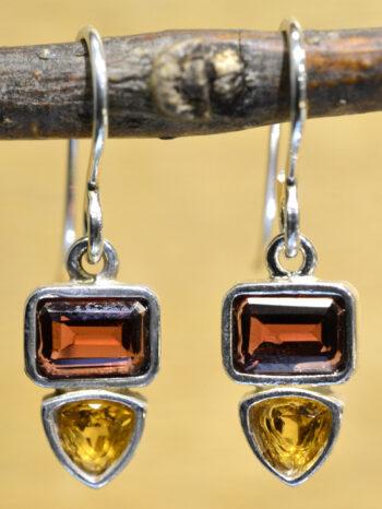 Sierra Designs garnet, citrine, and sterling silver gemstone earrings