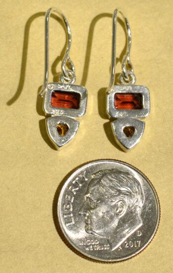back of Sierra Designs garnet, citrine, and sterling silver gemstone earrings with dime