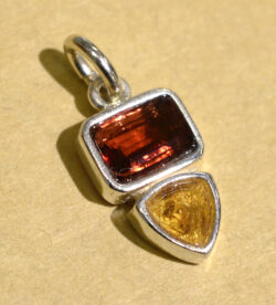garnet and citrine handmade sterling silver gemstone pendant