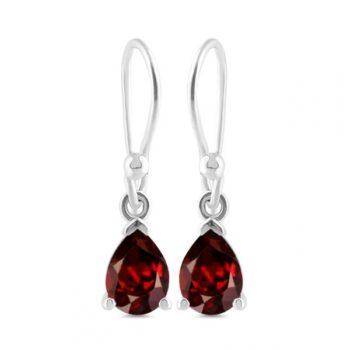 dark red garnet drop earrings