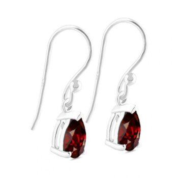 side view of petite garnet earrings