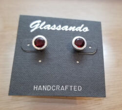 red garnet and sterling silver post earrings