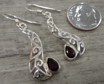 garnet sterling silver earrings with dime for scale