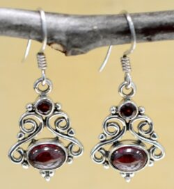 Handmade garnet and sterling silver filigree earrings