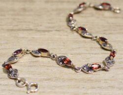 handmade garnet, marcasite, and sterling silver bracelet