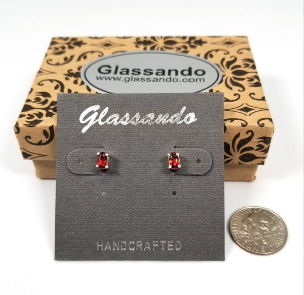 garnet and sterling silver oval stud earrings