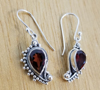 garnet and sterling silver paisley inspired earrings