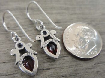 handmade faceted red garnet, pearl, and sterling silver drop earrings back view shown with dime (not included) for scale