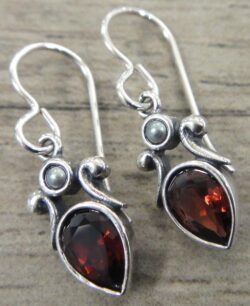 handmade faceted red garnet, pearl, and sterling silver drop earrings