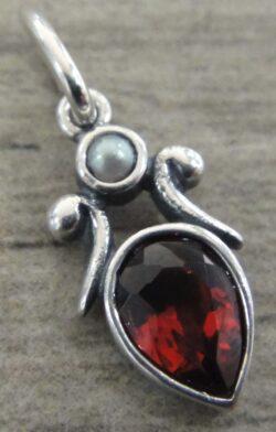 Handmade garnet, pearl, and sterling silver pendant