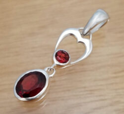 red garnet and sterling silver two stone pendant