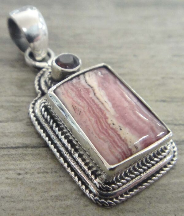 pink rhodochrosite with garnet accent sterling silver pendant