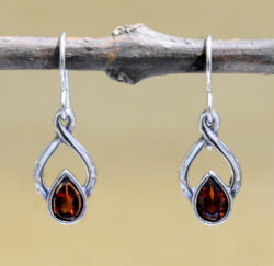 handmade red garnet and sterling silver twist drop earrings