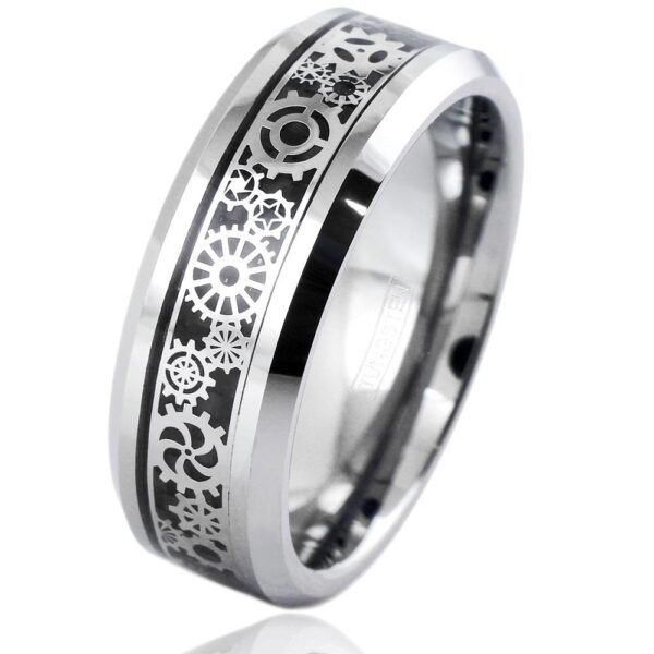 Tungsten ring with gear design over black faux carbon fiber