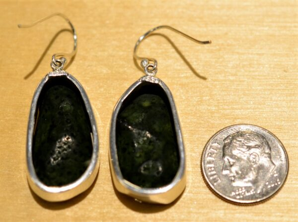 Handmade big geode druzy and sterling silver earrings back view shown with dime (not included) for scale