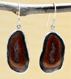 Handmade big geode druzy and sterling silver earrings