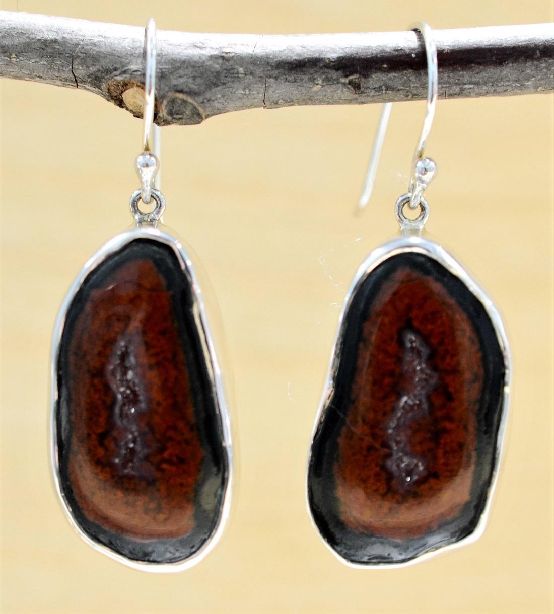 Handmade big geode druzy and sterling silver earrings